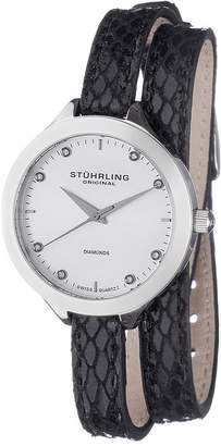 Stuhrling Original Sthrling Original Womens Diamond-Accent Black Leather Wrap Watch