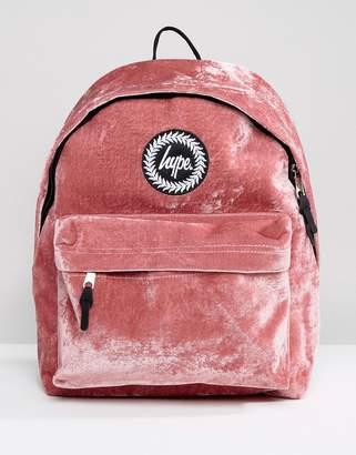 Hype Exclusive Dusky Pink Velvet Backpack