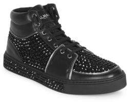 Balmain Men's Studded Leather High-Top Sneakers - Noir - Size 45 (12)