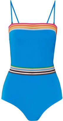 MONICA Emma Pake - Sunrise Mesh-trimmed Swimsuit - Azure