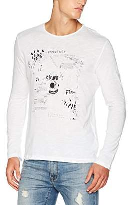 Sisley Men's T-Shirt with Print in White Long Sleeve Top