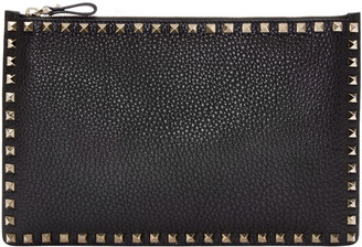 Valentino Black Leather Rockstud Pouch $695 thestylecure.com