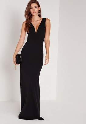 Missguided Petite V Plunge Scuba Maxi Dress Black