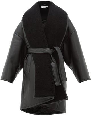Balenciaga Oversized Faux Leather Wrap Coat - Womens - Black