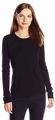Lark & Ro Women's 100% Cashmere Slim-Fit Crewneck Sweater
