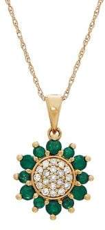 Lord & Taylor 14K Yellow Gold, Emerald & Diamond Flower Pendant Necklace