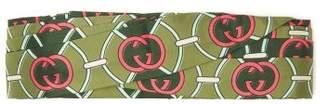 Gucci Gg Logo Print Knotted Silk Twill Headband - Womens - Green