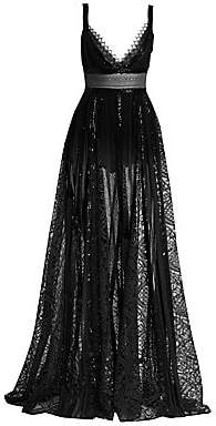 Elie Saab Women's Sheer Lace & Sequin V-Neck Gown