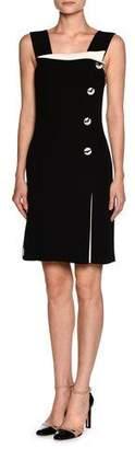 Giorgio Armani Sleeveless Side-Button Tuxedo Dress, White/Black