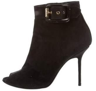 Burberry Peep-Toe Suede Boots