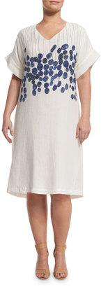Marina Rinaldi Diretto Short-Sleeve Floral-Print Linen Dress, Plus Size $910 thestylecure.com