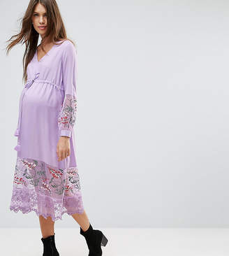 Asos (エイソス) - ASOS Maternity Midi Dress with Embroidery and Tie Detail