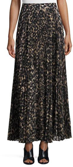 Haute HippieHaute Hippie Sunburst Flare Printed Maxi Skirt, Clinton Metallic Leopard