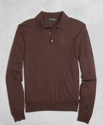 Brooks Brothers Golden Fleece 3-D Knit Fine-Gauge Merino Long-Sleeve Polo