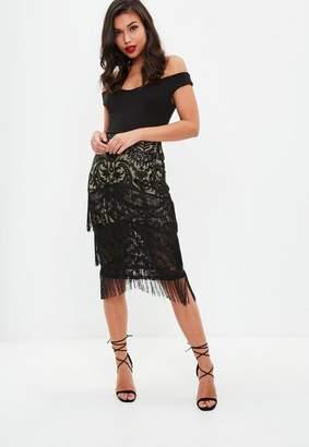 Missguided Black Lace Tiered Tassel Midi Skirt