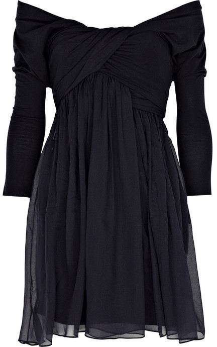 Carven Off-the-shoulder silk-chiffon dress