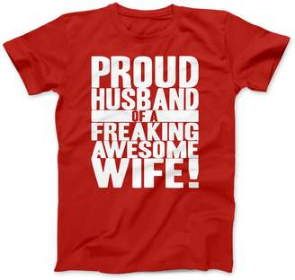 Crazy Dog T-shirts Crazy Dog Tshirts Mens Proud Husband of a Freaking Awesome Wife Funny Marriage T shirt (Grey)
