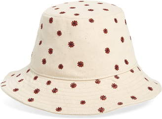 Madewell Daisy Embroidered Short Brimmed Canvas Bucket Hat