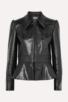 Miu Miu Glossed-leather Peplum Jacket - Black