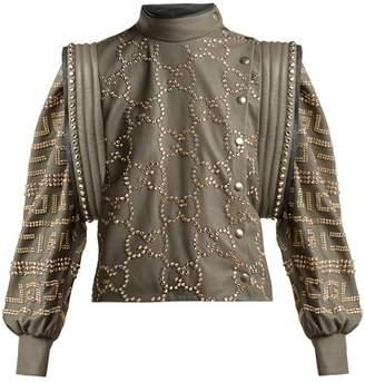 Gucci Crystal Embellished Leather Jacket - Womens - Grey Multi