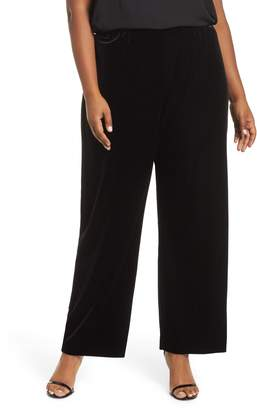 Alex Evenings High Rise Flat Front Velvet Pants