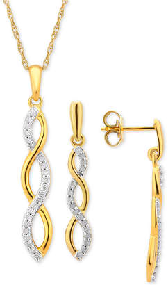 Macy's Diamond Infinity Jewelry Set (1/4 ct. t.w.) in 14k Gold-Plated Sterling Silver