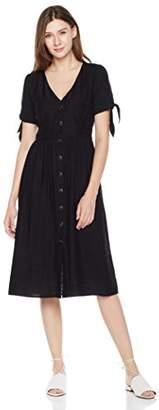 Plumberry Women's Deep V-Neck Short Sleeve High Waist Button Down Pleated Casual Maxi Long Dress