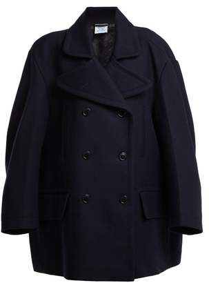 Vetements - Oversized Double Breasted Wool Blend Coat - Womens - Navy
