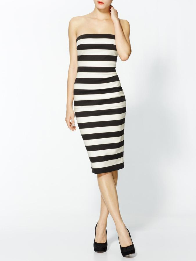 Robert Rodriguez Graphic Stripe Strapless Dress