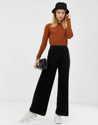Asos Design DESIGN knitted wide leg pant with deep rib