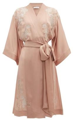 Carine Gilson Lace Trimmed Kimono Style Silk Robe - Womens - Pink