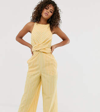 Asos Tall DESIGN Tall Linen stripe twist front jumpsuit