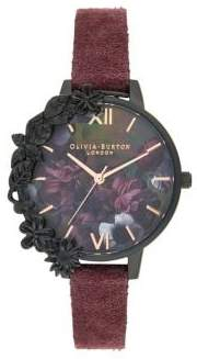 Olivia Burton After Dark Stainless Steel and Leather-Strap Watch