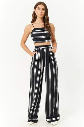 Forever 21 Striped Cropped Cami & Pants Set