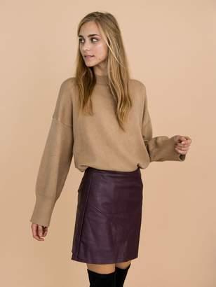Goodnight Macaroon 'Isla' Khaki Oversized Side Slit Crewneck Sweater