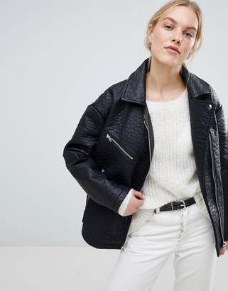 Asos Design DESIGN Oversized Faux Leather Jacket