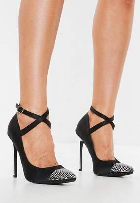Missguided Black Embellished Toe Cap Stiletto Pumps