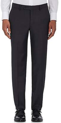 Barneys New York MEN'S VOYAGER WOOL-BLEND FLAT-FRONT TROUSERS - CHARCOAL SIZE 42