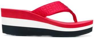 Tommy Hilfiger striped wedge flip flops