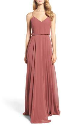985a53a7788 Jenny Yoo Inesse Chiffon V-Neck Spaghetti Strap Gown