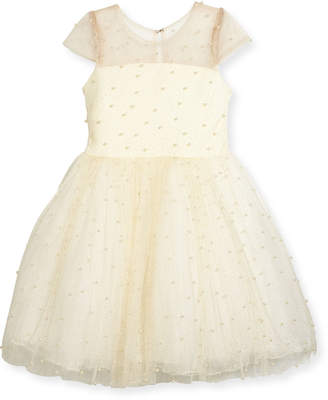 Zoe Maisie Mesh Tulle Party Dress w/ Pearly Beads, Ivory, Size 2-6X