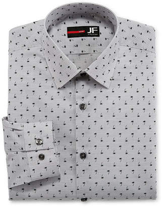 Jf J.Ferrar Easy-Care Solid Stretch Long Sleeve Woven Stripe Dress Shirt - Slim