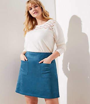 LOFT Plus Faux Suede Pocket Shift Skirt