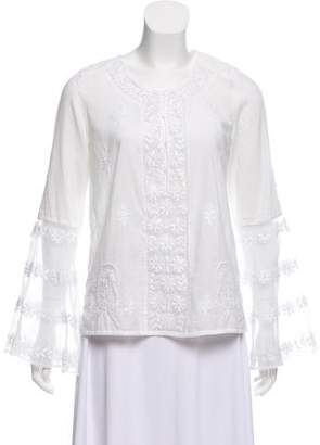 Calypso Embroidered Bell Sleeve Top