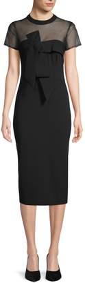 JS Collections Bow-Detail Illusion Sheath Dress
