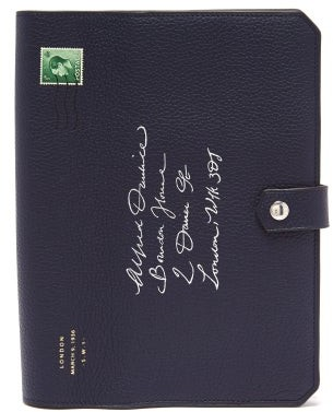Dunhill Boston Envelope Leather Notebook - Navy