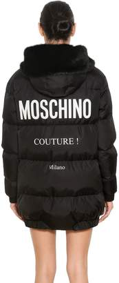 Moschino Hooded Nylon Logo Printed Puffer Coat