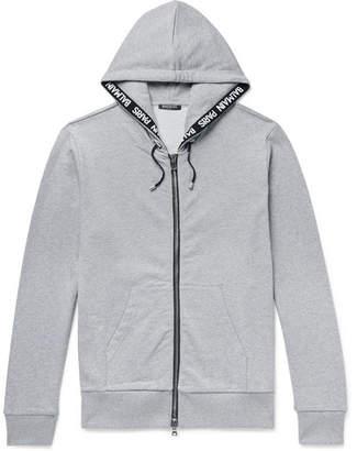 Balmain Logo-jacquard Loopback Cotton-jersey Zip-up Hoodie - Gray
