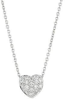 Roberto Coin Women's Tiny Treasures 0.15 TCW Diamond and 18K White Gold Heart Pendant Necklace