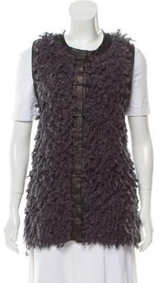 Rag & Bone Leather-Trimmed Shag Vest
